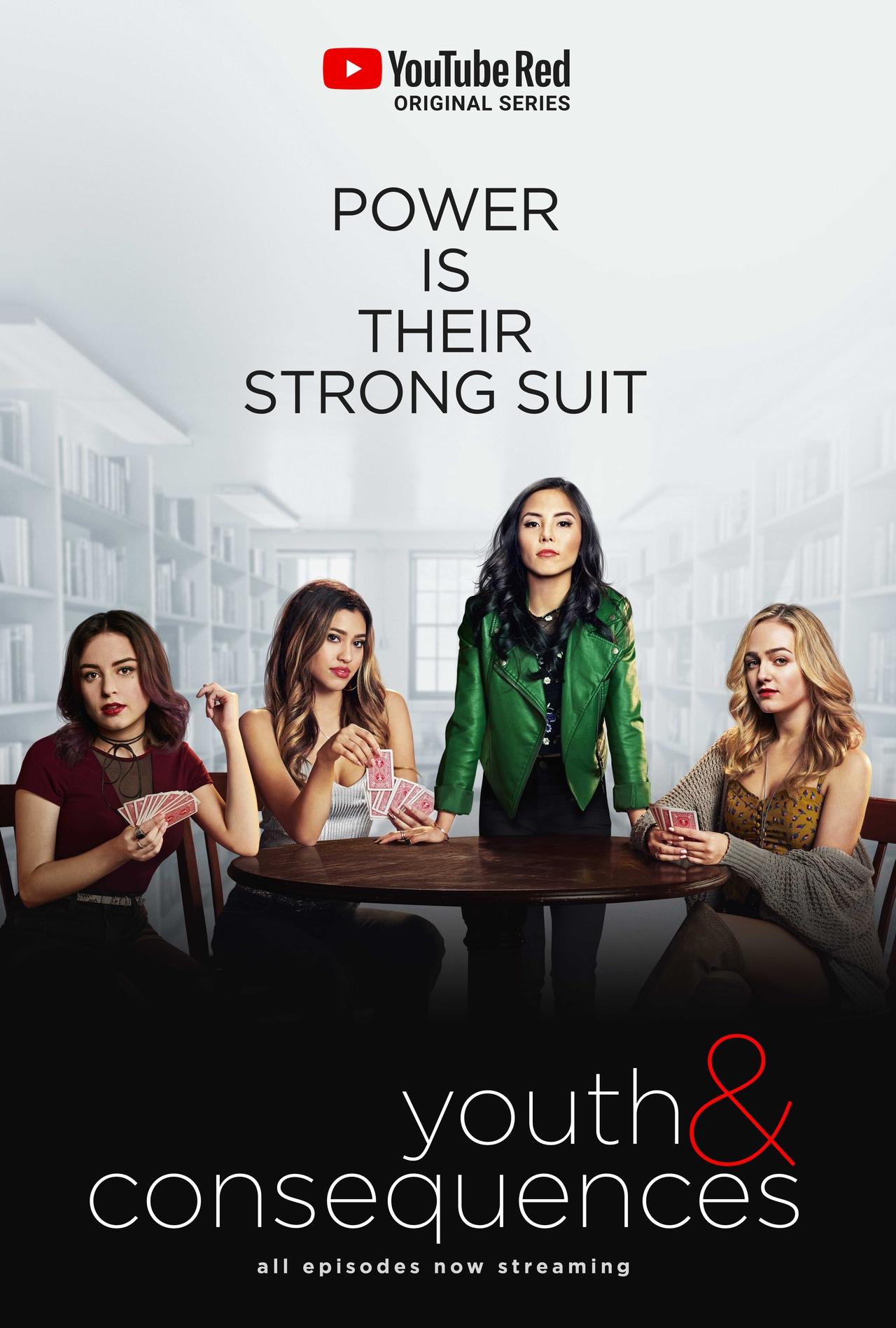 Anna Akana در صحنه سریال تلویزیونی Youth & Consequences به همراه Kara Royster، Sophie Reynolds و Katie Sarife