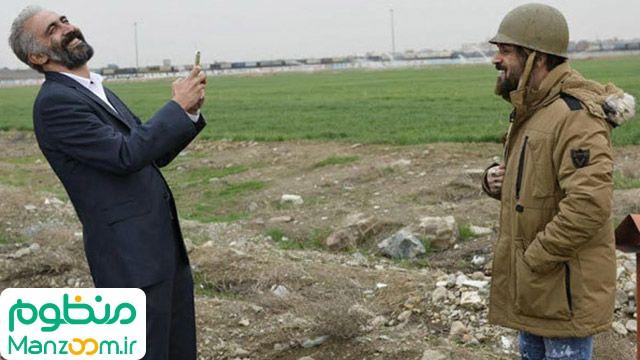 هادی حجازیفر در صحنه فیلم سینمایی کاتیوشا به همراه احمد مهرانفر