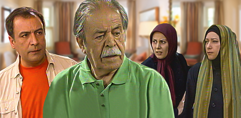 عبدالرضا اکبری در صحنه سریال تلویزیونی بوی غریب پاییز به همراه محمدعلی کشاورز و فریبا متخصص