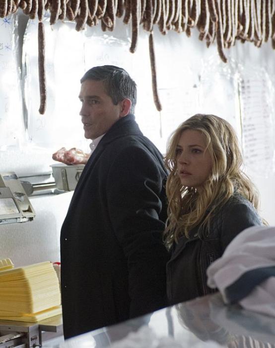 کاترین وینیک در صحنه سریال تلویزیونی مظنون به همراه Jim Caviezel