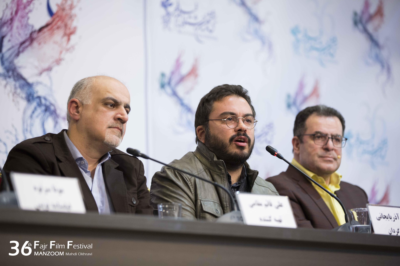 پوریا آذربایجانی در نشست خبری فیلم سینمایی جشن دلتنگی به همراه علی قائممقامی و محمود گبرلو