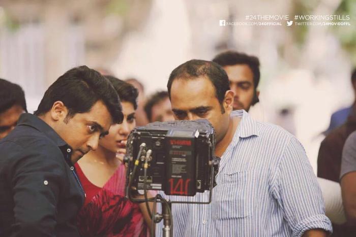 Samantha Ruth Prabhu در صحنه فیلم سینمایی 24 به همراه Suriya و Vikram K. Kumar