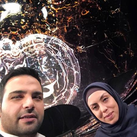 احسان علیخانی در پشت صحنه برنامه تلوزیونی ماه عسل