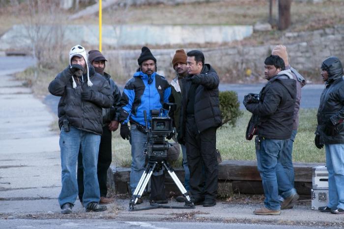 Jude S. Walko در صحنه فیلم سینمایی Vishwaroopam به همراه Kamal Haasan و Rajesh M. Selva