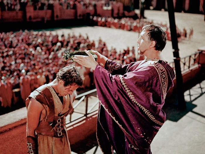 Frank Thring در صحنه فیلم سینمایی بن هور به همراه Charlton Heston