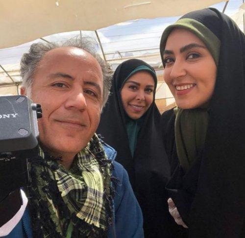فلور نظری در پشت صحنه سریال تلویزیونی راه و بیراه به همراه مهشید جوادی