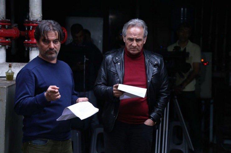 پیمان قاسمخانی و مجید مظفری در پشت صحنه فیلم خوب بد جلف