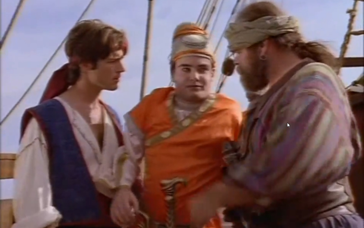 George Buza در صحنه سریال تلویزیونی The Adventures of Sinbad به همراه Zen Gesner