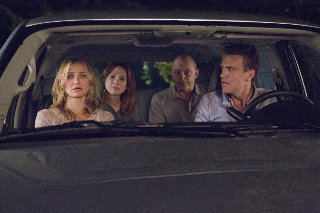 Jason Segel در صحنه فیلم سینمایی Sex Tape به همراه راب کوردری، الی کمپر و کامرون دیاز
