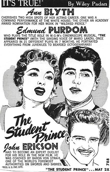 John Ericson در صحنه فیلم سینمایی The Student Prince به همراه Edmund Purdom و Ann Blyth