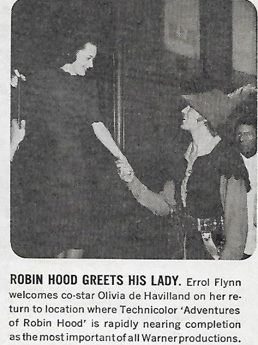 Olivia de Havilland در صحنه فیلم سینمایی ماجراهای رابین هود به همراه Errol Flynn