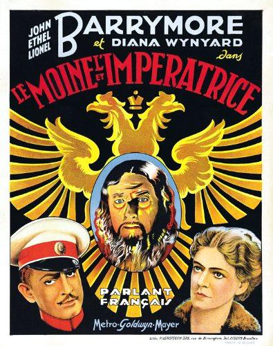 John Barrymore در صحنه فیلم سینمایی Rasputin the Mad Monk به همراه Lionel Barrymore و Ethel Barrymore