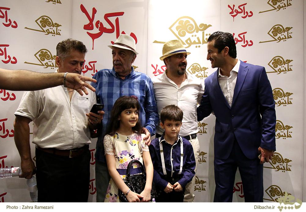 سوگل محرابی در اکران افتتاحیه فیلم سینمایی دراکولا به همراه عباس محبوب و رضا عطاران