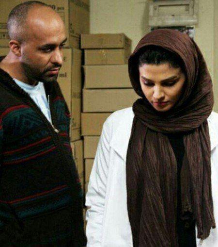 فوژان قبادیان در پشت صحنه سریال تلویزیونی آسپرین به همراه پیام احمدینیا