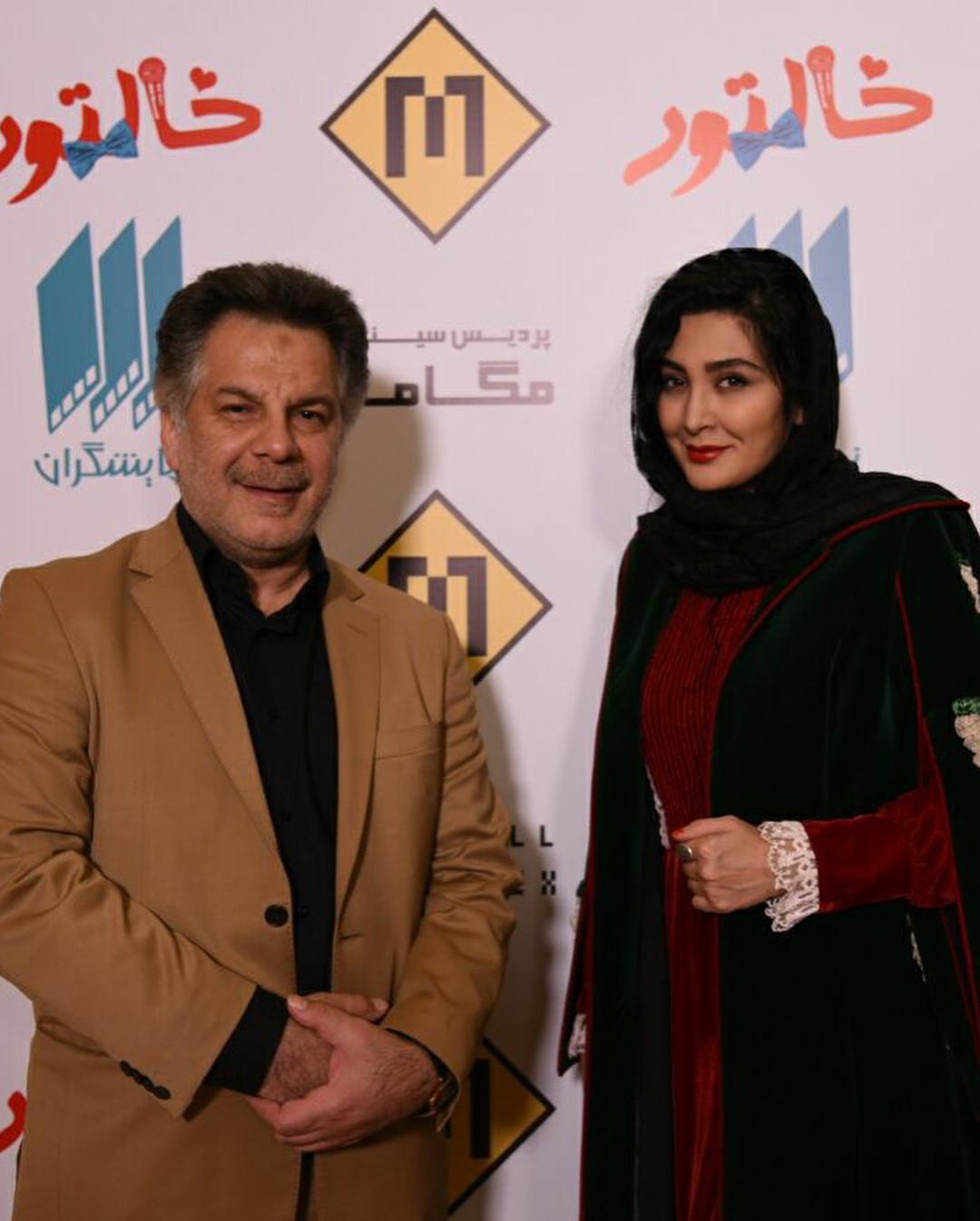عبدالله علیخانی در اکران افتتاحیه فیلم سینمایی خالتور به همراه مریم معصومی