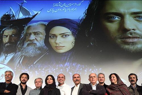 محمد بزرگنیا در اکران افتتاحیه فیلم سینمایی راه آبی ابریشم به همراه پیام دهکردی، بهرام رادان، پگاه آهنگرانی و مهدی میامی