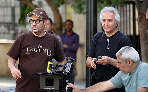 محمد آلادپوش در پشت صحنه فیلم سینمایی سوفی و دیوانه به همراه مهدی کرمپور