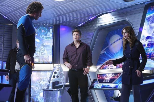 Ed Quinn در صحنه سریال تلویزیونی کستل به همراه Stana Katic و Nathan Fillion