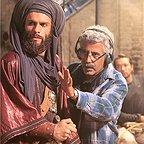 بابک حمیدیان در پشت صحنه فیلم سینمایی رستاخیز به همراه احمدرضا درویش و حسن پورشیرازی