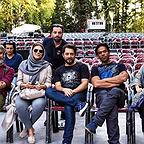 تصویری شخصی از بانیپال شومون، بازیگر و گوینده سینما و تلویزیون به همراه بهرام رادان، سحر دولتشاهی و مهدی پاکدل