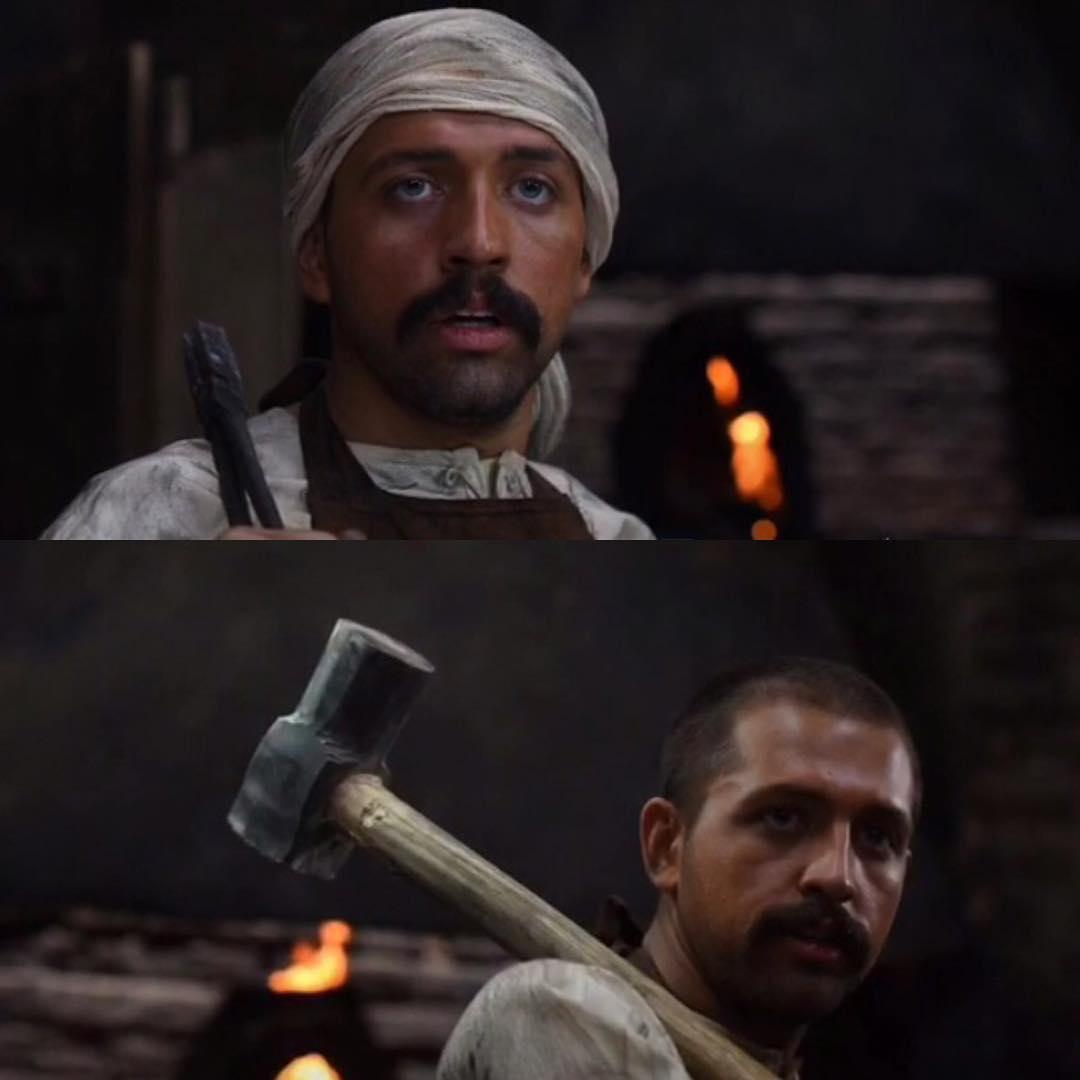 گریم محسن افشانی در فیلم آتش و قداره