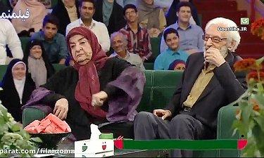 شوخی های مرحوم جمشید مشایخی و همسرش در برنامه خندوانه